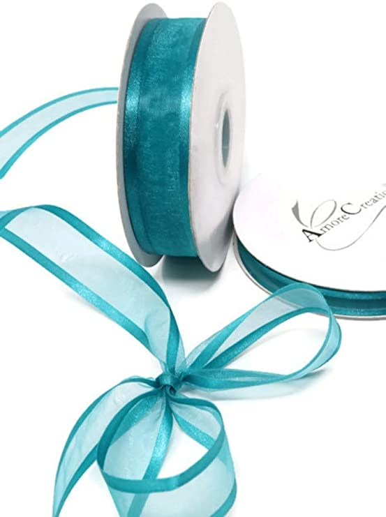 Amorecreations Teal Organza Ribbon with Satin Edge-25 Yards X 3//8 Inches
