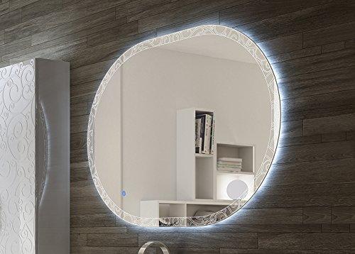 Specchiera specchio filo lucido retroilluminato a led touch,cm.75x100 ovale decoro barocco