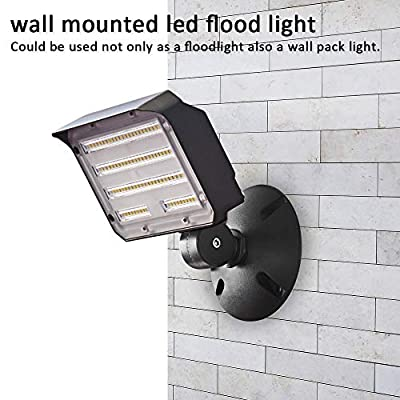 60W LED Flood Light with Knuckle, SZGMJIA Outdoor Security Fixture Dusk-to-Dawn Photocell 5000K 7, 800lm(300W Equivalent) 5-Year Warranty Waterproof with Base for Wall Mount for Entrance Garden Yards