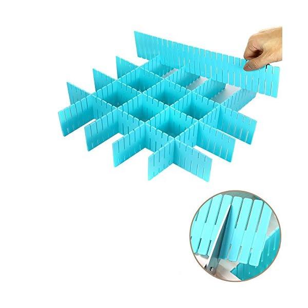 51iO1DtrfvL WeFoonLo 8pcs DIY Plastic Drawer Organizer Verstellbare Schubladenunterteiler für ordentliche Schränke, Socken…