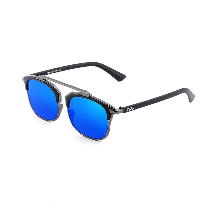 Sonnenbrille TWIG Rimbaud Herren/Damen Verspiegelt Jahrgang Retrò Schwarz/Blau E5GvYMdG
