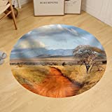 Gzhihine Custom round floor mat Beautiful landscape with tree in Africa