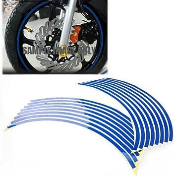 Para Coche Motocicleta Bicicleta 16 - 18 nuevo rayas Borde de la rueda de color azul reflectante adhesivo adhesivo: Amazon.es: Coche y moto