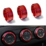 iJDMTOY 3pcs Red Anodized Aluminum AC Climate Control Knob Ring Covers For Subaru WRX, STI, Impreza, Legacy, Forester, XV, Outback, etc