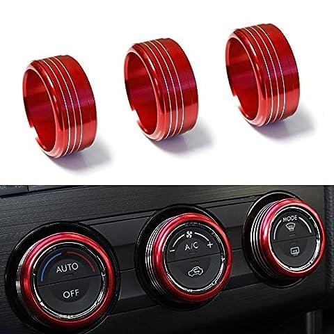 iJDMTOY 3pcs Red Anodized Aluminum AC Climate Control Knob Ring Covers For Subaru WRX, STI, Impreza, Forester, XV - Impreza Sport Wagon
