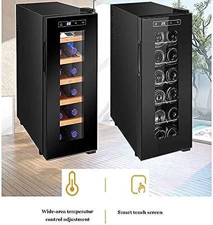 YUN Vinotecas,compresor Frigorifico Mini Refrigerador De Vino Compacto Independiente con Control Digital, Estante De Haya Extraíble