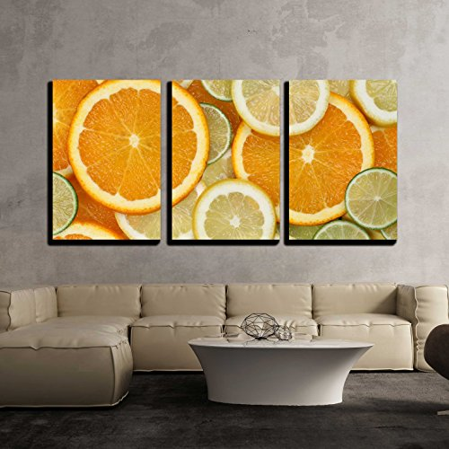 wall26 - 3 Piece Canvas Wall Art - Background Made from Sliced Orange, Lemon and Lime Citrus Fruits - Modern Home Decor Stretched and Framed Ready to Hang - 24