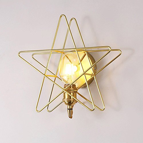 CGJDZMD Wall Sconce Creative Retro Industrial Loft Style DIY Star Shape Wall Lights American Country Style Loft Wrought Iron Single Head Wall Lamp Wall Lantern Simple Gold Wall Light by CGJDZMD