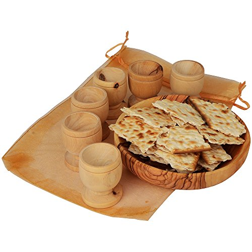 The Jerusalem Gift Shop The Lord's Supper - Olive Wood Bread Tray with Six Olive Wood Cups in Gift ()