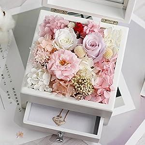 FYYDNZA Immortal Flower Necklace Wooden Gift Box Lipstick Jewelry Box Drawer Valentine'S Day Birthday Girlfriends Wedding Gift 77