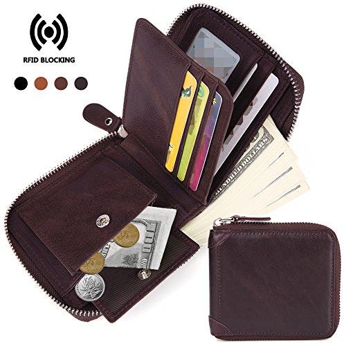 - Beurlike Men's RFID Blocking Vintage Genuine Leather Zip-around Bifold Wallet (Coffee)