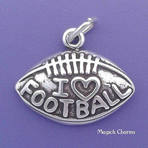 925 Sterling Silver I Love Football Charm Pendant Jewelry Making Supply, Pendant, Charms, Bracelet, DIY Crafting by Wholesale Charms ()