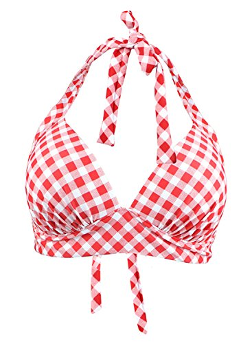 Futurino Womens Vintage 50s Plaid Pattern Halter Bikini Top Swimsuits,Red,X-Small