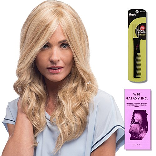 Eva LF Line (Human Hair) by Estetica, Wig Galaxy Hair Loss Booklet & Magic Wig Styling Comb/Metal Pick Combo (Bundle - 3 Items), Color Chosen: R8-26H (Estetica Designs Monofilament Wigs)