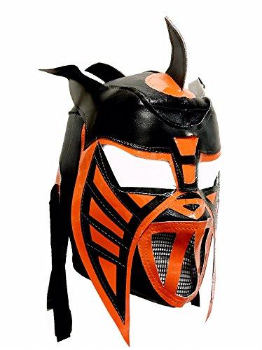 HYSTERIA Adult Lucha Libre Wrestling Mask (pro-fit) Costume Wear - Black/Orange]()