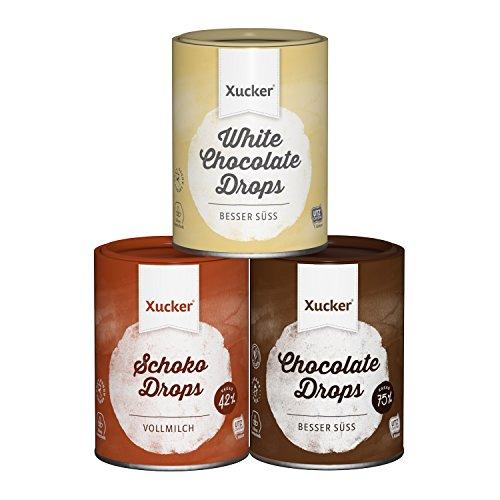 Xucker 3 x 200 g Schokoladen-Drops Set, Edel Vollmilch, Weiß, Edelbitter - kohlenhydrat-bewusste Schoko-Drops - mit Xylit - UTZ-zertifizierter Kakao - frei von Gentechnik - aus nachhaltigem Anbau