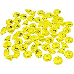 Livvd 66 Pieces Large Clear Acrylic Diamonds Gems for Table Centerpiece, Wedding, Bridal Shower, Party Decorations, 32 x 24 mm (Yellow)