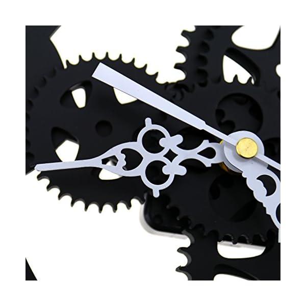 SING F LTD Iron Classic Roman Numeral Steampunk Wall Clock Living Room Décor Black/Gold 4