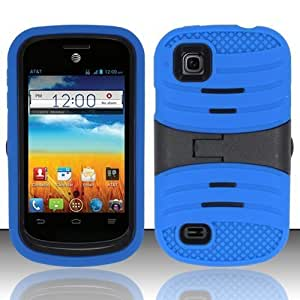 For ZTE Prelude Z993 / Avail 2 Z992 (AIO Wireless/AT&T) - UCASE Cover w/ Kickstand w/ Screen Protector - Blue...