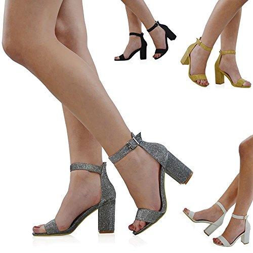 Essex Glam Women's Ankle Strap Block Heel Black Glitter Party Sandals 7 B(M) US