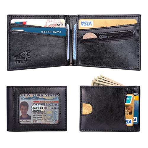 YUTING New Slim Wallet with Money Clip Genuine Leather Minimalist Mens Bifold Front Pocket Wallets for Men Black/Brown