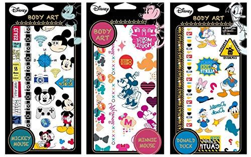 Disney Temporary Tattoo Stickers Body Art 3 Sheets (Mickey/Minnie/Donald Duck)