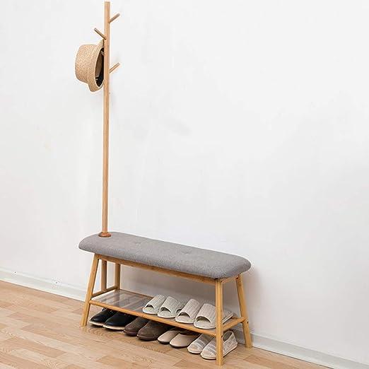 HM&DX Bambú Taburete del Cambio De Zapato con Perchero ...