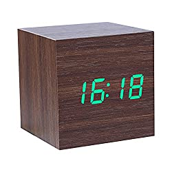 vanpower Wooden Digital Alarm Clock, Cube Little Clock with LED Time Calendar Temperature Display, Intelligent Induction, Sound Control, USB/Battery Powered Clock for Home Office Travel (Green Light)
