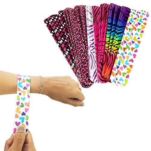 - Adorox 25pcs Slap Metal Bracelet Party Favor Pack with Colorful Heart, Leopard, Zebra, Tiger Animal Prints Birthday School Classroom Prize For Kids Boys Girls Adults (25pcs)