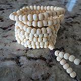 6mm*216 Buddha White Ebony SandalWood Prayer Beads Buddhist Sutra Bracelet Necklace