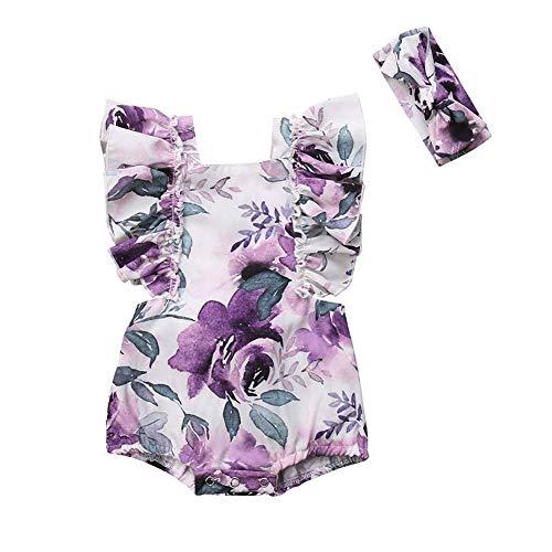 GRNSHTS Newborn Baby Girl Floral Romper Ruffled Sleeveless Bodysuit Jumpsuit Summer Outfit (Purple,18-24 Months)