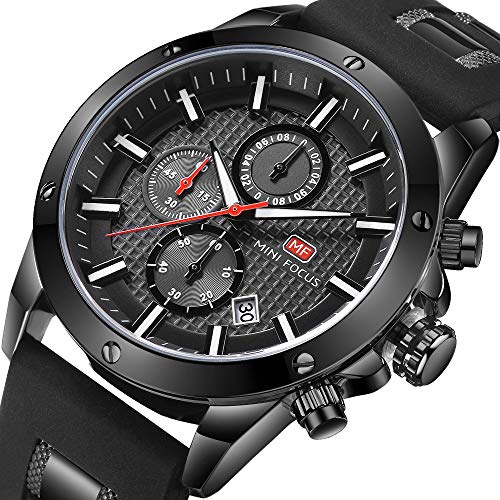 Casual Sport Watches for Men,Fashion Quartz Watch,MINI FOCUS Mens Chronograph Waterproof Wristwatch with Date Display (Chronograph Water Resistant Wrist Watch)