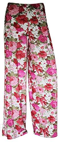 WearAll Damen Hose mehrfarbig mehrfarbig Gr. XXL , Cream Floral Pink