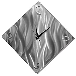 Silver Metal Decorative Wall Clock, Abstract Modern Clock for Living Room or Kitchen, Jon Allen Metal Art, Final Countdown Clock