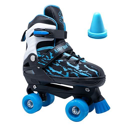 WiiSHAM Adjustable Children's Roller Skates with Four Piles