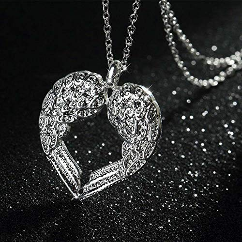 Unique Fashion Jewelry Women Silver Plated Angel Wings Necklace Heart Pendant