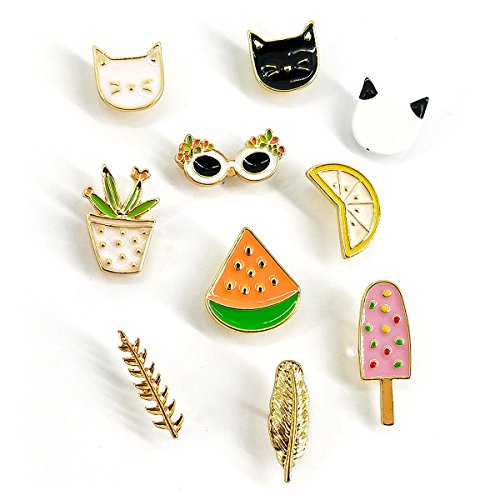 Enamel Cat Pin (MeliMe Cute Cat Animal Floral Fruits Enamel Brooch Pins Cartoon Lapel Pins Lovely Badge for Women Kids Clothing Decoration (Cute cats fruits leaves set of 10))