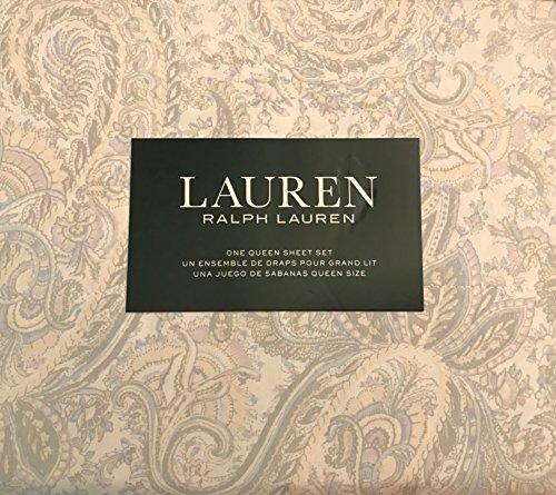 RALPH LAUREN 4 Piece Queen Sheet Set in Pastels: Light Blue, Lavender Purple, Pale Yellow and Light Grey Floral Jacobean Paisley on Off White - 100% Cotton