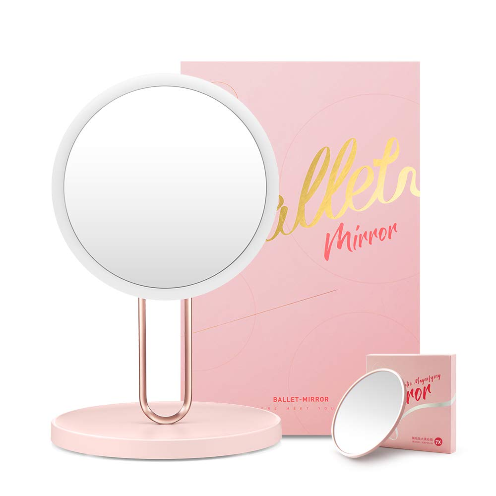 Vanity Makeup Mirror with Lights - 3 Color Lighting Modes Upgraded 70 LED ,Adjustable Brightness, Rechargeable and Cordless, Dimmable Touch Screen 10X Magnification Portable Cosmetic Lighted Up