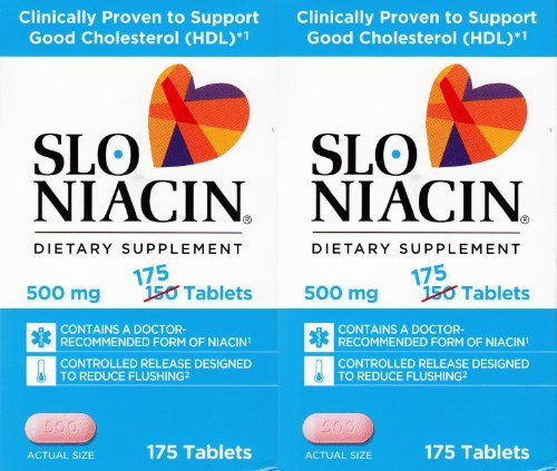 Slo Niacin 500mg 2 Packs each of 175 Tablets