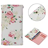 """Universal Cell Phone Flip Case, JULAM PU Leather Skin Protective Folio Case Cover Wallet Bag with Card Slots Compatible LG G Stylo G4 Stylus 4G LS770 H631 F560K 5.7"""" and More (Peony)"""