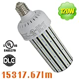 120 Watt E39 LED Parking Lot Corn Cob Bulb (400W MH Equivalent) 100-277VAC Shoebox Retrofit Car Lot Pole Daylight 5000K Mogul Tennis Court Street Light