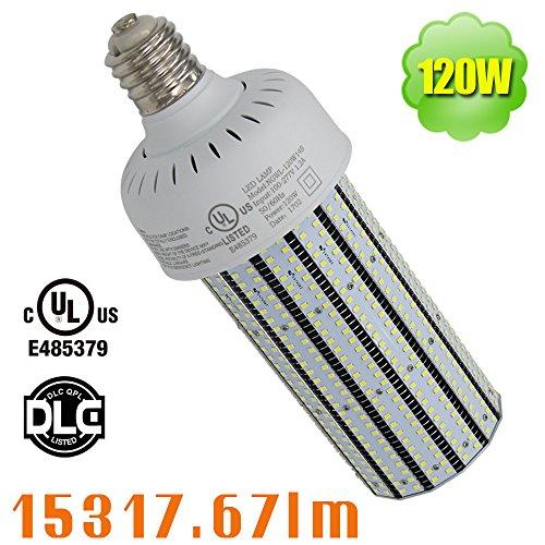 120 Watt E39 LED Parking Lot Corn Cob Bulb (400W MH Equivalent) 100-277VAC Shoebox Retrofit Car Lot Pole Daylight 5000K Mogul Tennis Court Street Light
