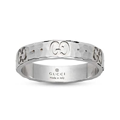 7b53e8d66 Amazon.com: GUCCI ICON HAMMERED ring 4 mm YBC414006003013: Jewelry