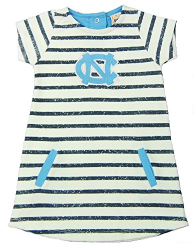 Little King NCAA North Carolina Tar Heels Striped Dress with Team Color Trim, 3T, Ivory ()