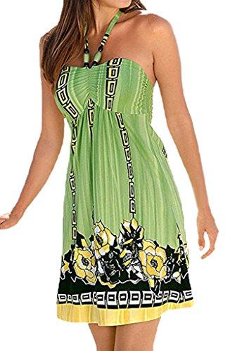 Women Boho Floral Printed Above Knee Length Beach Party Dress M - Summer Dress Tube Top