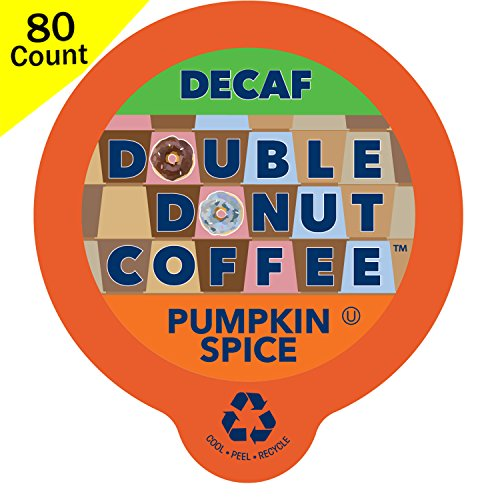 (Double Donut Decaf Flavored Coffee, in Recyclable Single Serve Cups for Keurig K-Cup Brewers, 80 Count (Decaf Pumpkin Spice))