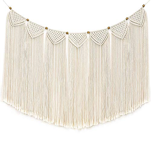 """Mkono Macrame Wall Hanging Curtain Fringe Garland Banner Bohemian Wall Decor Woven Home Decoration for Apartment Bedroom Living Room Gallery Baby Nursery 47""""L X 28""""W"""