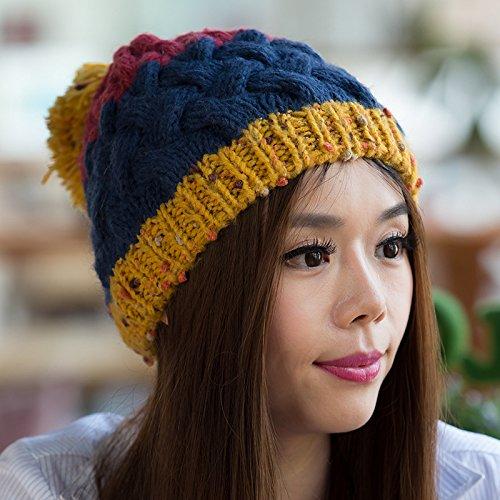 Bola Grande Blue los de Maozi otoño para Versión Coreana Colores Invierno Sombrero DEEPBLUE Hecho Que Mezcla Punto wXRqwgI
