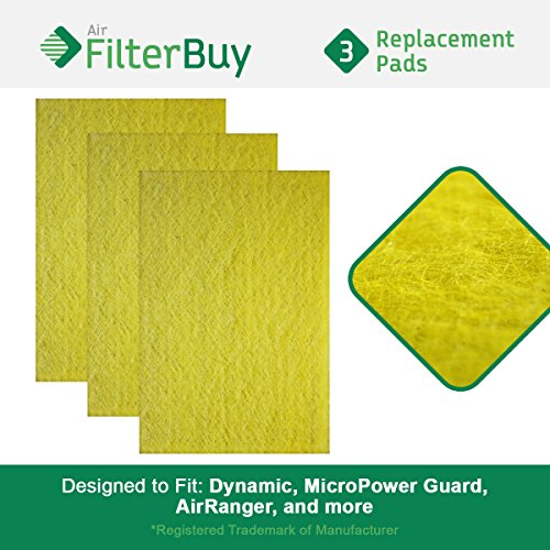 FilterBuy Replacement Media Pad Filter (16x20). Compatible with Dynamic, MicroPower Guard, Air Ranger, and more. (Pack of 3)